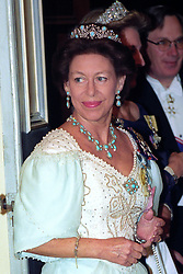 Princess Margaret before entering the banqueting room at the Portuguese embassy in London.