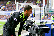 Eden Hazard of Chelsea sticks out his tongue and reacts to missing a chance to score. Premier league match, Everton v Chelsea at Goodison Park in Liverpool, Merseyside on Sunday 30th April 2017.<br /> pic by Chris Stading, Andrew Orchard sports photography.