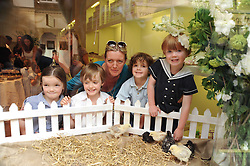 ANNABEL HESELTINE with her children MONGO(white shirt), ISABELLA, RAFFERTY (light blue shirt) and MONTY (dark blue shirt) at Papillon Shoes Enchanted Tea Party Store Launch 98 Marylebone Lane, London W1 on 25th May 2010.