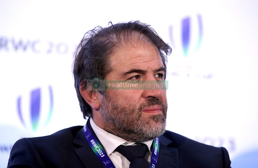 Serge Simon during the 2023 Rugby World Cup host union announcement at The Royal Garden Hotel, Kensington.