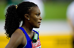 Colombia's Yomara Hinestroza  during warming up during the women's 4x100m relay race of the 12th IAAF World Athletics Championships at the Olympic Stadium on August 22, 2009 in Berlin, Germany. (Photo by Vid Ponikvar / Sportida)