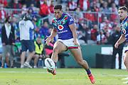 Roger Tuivasa-Sheck kicks. St George Dragons v Vodafone Warriors. NRL Rugby League, Netstrata Jubilee Stadium, Sydney, NSW, Australia, Sunday 18th April 2021 Copyright Photo: David Neilson / www.photosport.nz