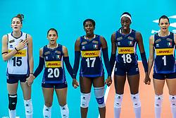 16-10-2018 JPN: World Championship Volleyball Women day 17, Nagoya<br /> Italy - Serbia / Marina Lubian #15 of Italy, Beatrice Parrocchiale #20 of Italy, Miryam Fatime Sylla #17 of Italy, Paola Ogechi Egonu #18 of Italy, Serena Ortolani #1 of Italy