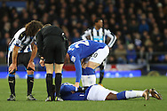 Romelu Lukaku of Everton is injured lying on the pitch in pain. Barclays Premier League match, Everton v Newcastle United at Goodison Park in Liverpool on Wednesday 3rd February 2016.<br /> pic by Chris Stading, Andrew Orchard sports photography.