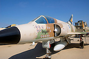 Israel, Hazirim, near Beer Sheva, Israeli Air Force museum. The national centre for Israel's aviation heritage. Mirage fighter plane with 13 markings for shot down enemy planes during the six day war. This plane is also known as the Bar Mitzvah plane