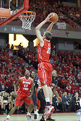 17 February 2013:  Jon Ekey with a slam during an NCAA Missouri Valley Conference mens basketball game where the Shockers of Wichita State played the Illinois State Redbirds  in Redbird Arena, Normal IL