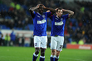 Ipswich Town players Frank Nouble (l) and Daryl Murphy ® show their frustration after missing a goal chance. NPower championship, Cardiff city v Ipswich Town at the Cardiff city Stadium in Cardiff, South Wales on Saturday 12th Jan 2013. pic by Andrew Orchard, Andrew Orchard sports photography,
