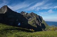 Mountain camp over hidden valley, Moskenesøy, Lofoten Islands, Norway