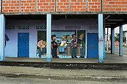 Mural on the outside wall of a local bar in the city of Chone, Ecuador, depicts a scene from the TV show The Simpsons. Chone, Manabi, Ecuador. February 22, 2013.