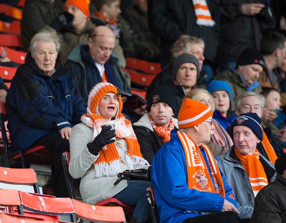 Blackpool fans before kick off<br /> <br /> Photographer Craig Mercer/CameraSport<br /> <br /> Football - The Football League Sky Bet League One - Swindon Town v Blackpool - Saturday 20th February 2016 - County Ground - Swindon    <br /> <br /> © CameraSport - 43 Linden Ave. Countesthorpe. Leicester. England. LE8 5PG - Tel: +44 (0) 116 277 4147 - admin@camerasport.com - www.camerasport.com