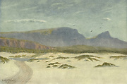 Sand dunes, Cape Town, South Africa From the book ' The Cape peninsula: pen and colour sketches ' described by Réné Juta and painted by William Westhofen. Published by A. & C. Black, London  J.C. Juta, Cape Town in 1910