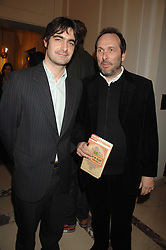 Left to right, VISCOUNT CASTLEREAGH and the HON.DAVID MACMILLAN at a party to celebrate the publication of The End of Sleep by Rowan Somerville held at the Egyptian Embassy, London on 27th March 2008.<br /><br />NON EXCLUSIVE - WORLD RIGHTS