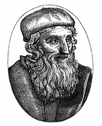 John Wycliffe (c1329-1384) English religious reformer.  Leader of the Lollards (Mumblers).  Questioned doctrine of transubstantiation. Organised translation of Bible into English.  Precursor of Protestant Reformation. 16th century woodcut.