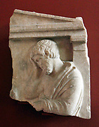 Grave relief depicting a man in sorrow. Greek early 4th Century BC