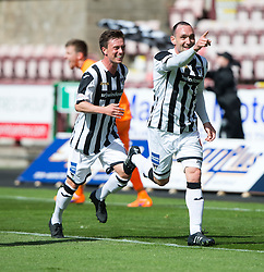 Dunfermline's Michael Moffat celebrates after scoring their third goal, with Dunfermline's Joe Cardle.<br /> Dunfermline 7 v 1 Cowdenbeath, SPFL Ladbrokes League Division One game played 15/8/2015 at East End Park.