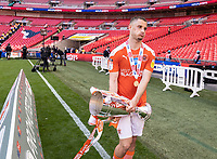 Blackpool's Jerry Yates with the EFL trophy <br /> <br /> Photographer Andrew Kearns/CameraSport<br /> <br /> The EFL Sky Bet League One Play-Off Final - Blackpool v Lincoln City - Sunday 30th May 2021 - Wembley Stadium - London<br /> <br /> World Copyright © 2021 CameraSport. All rights reserved. 43 Linden Ave. Countesthorpe. Leicester. England. LE8 5PG - Tel: +44 (0) 116 277 4147 - admin@camerasport.com - www.camerasport.com
