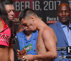 September 15, 2017 - Las Vegas, Nevada, United States of America - NABF Super Bantamweight champion Randy Caballero attends the the weigh in ceremony for his super bantamweight bout against Diego De L a Hoya on September14, 2017 at the MGM Grand  Garden Arena in Las Vegas, Nevada (Credit Image: © Marcel Thomas via ZUMA Wire)