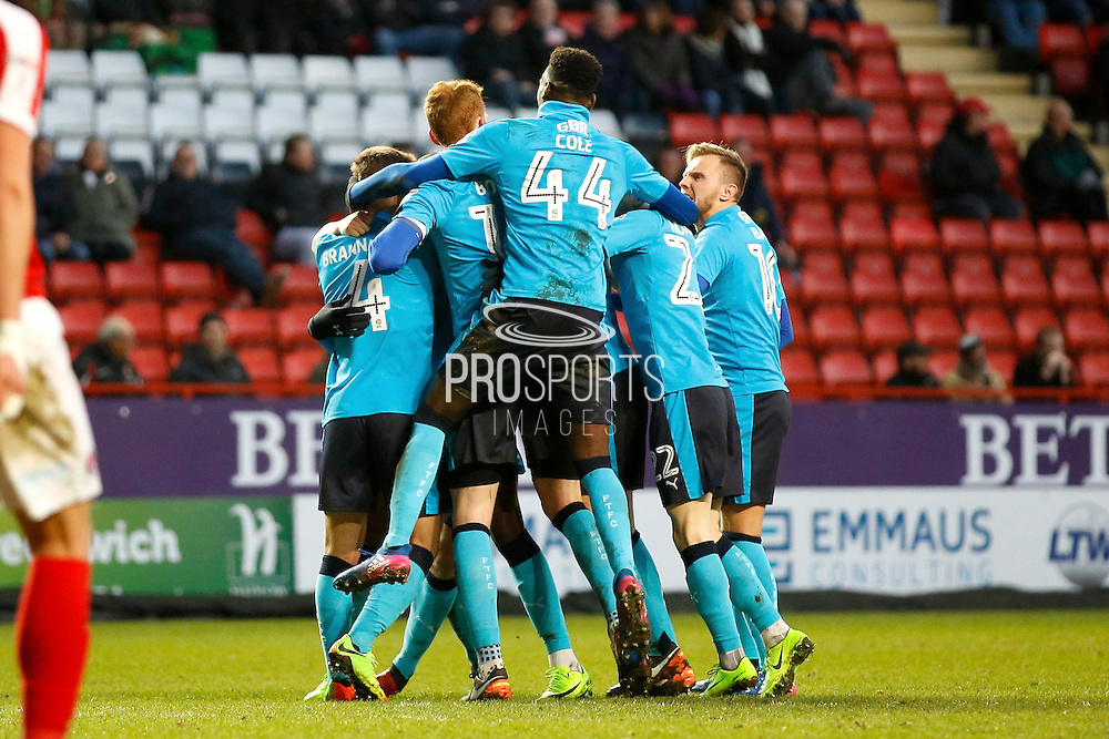 Fleetwood players celebrate a goal (1-1) from Fleetwood Town defender Amari'i Bell (3) during the EFL Sky Bet League 1 match between Charlton Athletic and Fleetwood Town at The Valley, London, England on 4 February 2017. Photo by Andy Walter.