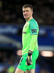 Everton goalkeeper Jordan Pickford appears frustrated during the Premier League match at Goodison Park, Liverpool.