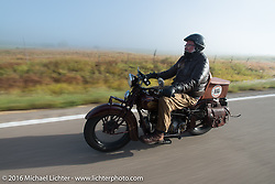 Dave Holzerland  riding his 1935, Indian during stage 8 of the Motorcycle Cannonball Cross-Country Endurance Run, which on this day ran from Junction City, KS to Burlington, CO., USA. Saturday, September 13, 2014.  Photography ©2014 Michael Lichter.