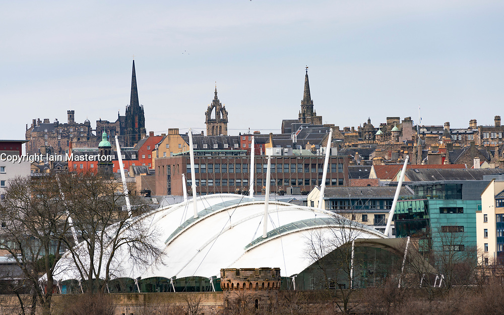 Skyline of Edinburgh with Dynamic Earth in foreground and Old Town to rear, Scotland , UK