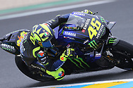 In wet conditions, #46 Valentino Rossi, Italian: Movistar Yamaha MotoGP during the MotoGP Grand Prix de France at the Bugatti Circuit at Le Mans, Le Mans, France on 18 May 2019.