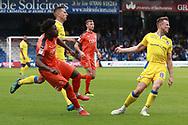 Luton Town midfielder Mpanzu Pelly-Ruddock (17) and  Bristol Rovers midfielder Ollie Clarke (8) during the EFL Sky Bet League 1 match between Luton Town and Bristol Rovers at Kenilworth Road, Luton, England on 15 September 2018.