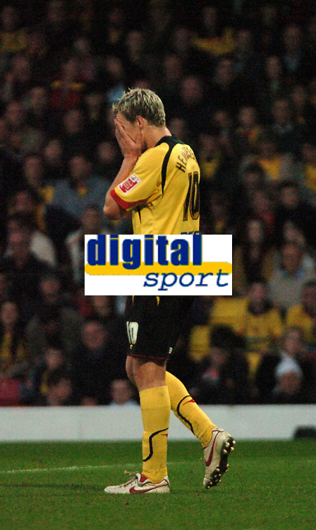 Photo: Tony Oudot/Sportsbeat Images.<br /> Watford v West Bromwich Albion. Coca Cola Championship. 03/11/2007.<br /> Darius Henderson of Watford looks dejected as a chance is missed