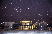 A view of the German Federal Chancellery during snowfall  at the central Mitte district in Berlin, Germany, February 09, 2021. Germany is experiencing several days of sub-zero temperatures strong winds and snow.