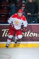 KELOWNA, CANADA - NOVEMBER 9: Alexander Dergachev #25 of Team Russia warms up against the Team WHL on November 9, 2015 during game 1 of the Canada Russia Super Series at Prospera Place in Kelowna, British Columbia, Canada.  (Photo by Marissa Baecker/Western Hockey League)  *** Local Caption *** Alexander Dergachev;