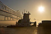 Crescent City Connection and Mississippi River, New Orleans, Louisiana, USA
