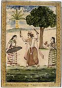 Album of Ragamala.  Megha Raga (rainy season): Krishna dances to playing of young women to call down the rain. 19th century Indian miniature, Rajasthan School.