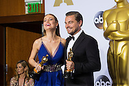 88th Academy Awards press room.<br /> Leonardo DiCaprio, Brie Larson.