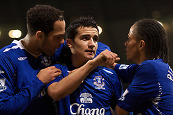 MANCHESTER, ENGLAND - Monday, February 25, 2008: Everton's Tim Cahill is congratulated by goalscorer Jolean Lescott (L) for creating the opening goal against Manchester City during the Premiership match at the City of Manchester Stadium. (Photo by David Rawcliffe/Propaganda)