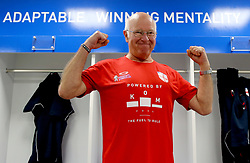 England's Tommy Charlton gets changed into his number 9 shirt before his England debut in the Walking Football International match at The AMEX Stadium, Brighton.