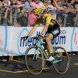 GENUA (ITA) wielrennen<br /> Bert Jan Lindeman was lang in de aanval en mag in de volgende etappe de bergtrui dragen