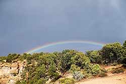 OCT 6, 2016: A rainbow stretches across the sky over the canyon following a brief rain,  in Grand Canyon,  Arizona, Richey Miller/CSM(Credit Image: © Richey Miller/Cal Sport Media)