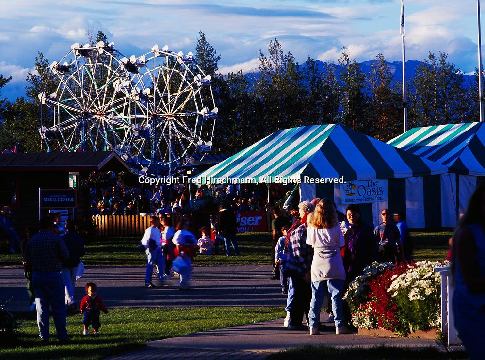 People enjoying the afternoon at the Alaska State Fair, Palmer, Alaska.