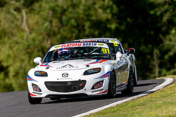 Jack Sycamore pictured while competing in the BRSCC Mazda MX-5 SuperCup Championship. Picture taken at Cadwell Park on August 1 & 2, 2020 by BRSCC photographer Jonathan Elsey