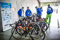 Dare Rupar, Ales Kalan, Matic Bozic, Tomaz Grm and Sime Dmitrovic of Team Slovenia prior to the Men Elite Road Race at UCI Road World Championship 2020, on September 27, 2020 in Imola, Italy. Photo by Vid Ponikvar / Sportida