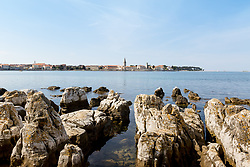 THEMENBILD - Porec ist eine Stadt an der Westkueste von der kroatischen Halbinsel Istrien, im Bild die Skyline von Porec mit Steinen . Aufgenommen am 12. April 2017 // Porec is a town on the western coast of the Croatian peninsula Istria, This picture shows the skyline of Porec with stones, Porec, Croatia on 2017/04/12. EXPA Pictures © 2017, PhotoCredit: EXPA/ Sebastian Pucher