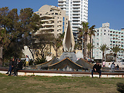 Israel, Sharon Region, Netanya coastal Promenade on the cliff overlooking the beach and Mediterranean Sea