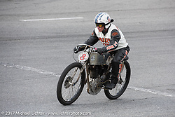 Freddie Bollwage racing his 1921 Harley-Davidson J racer at Billy Lane's Sons of Speed vintage motorcycle racing during Biketoberfest. Daytona Beach, FL, USA. Saturday October 21, 2017. Photography ©2017 Michael Lichter.
