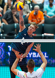 09-08-2019 NED: FIVB Tokyo Volleyball Qualification 2019 / Belgium 0 USA, Rotterdam<br /> First match pool B in hall Ahoy between Belgium vs. USA (1-3) for one Olympic ticket / Maxwell Holt #12 of USA