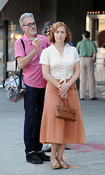 Kate Winslet films a scene for Woody Allen's new film on location in Queens in New York, USA.