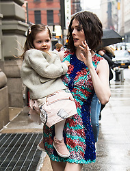 Coco Rocha and her daughter Ioni James Conran are seen arriving to the Christian Siriano fashion show during New York Fashion Week at Grand Lodge in New York ***SPECIAL INSTRUCTIONS*** Please pixelate children's faces before publication.***. 10 Feb 2018 Pictured: Coco Rocha, Ioni James Conran. Photo credit: MEGA TheMegaAgency.com +1 888 505 6342