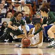 Moriah Jefferson, UConn, challenges for a loose ball with Shaleth Stringfield, (left) and Laura Ferreira, USF, during the UConn Huskies Vs USF Bulls Basketball Final game at the American Athletic Conference Women's College Basketball Championships 2015 at Mohegan Sun Arena, Uncasville, Connecticut, USA. 9th March 2015. Photo Tim Clayton