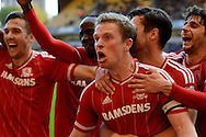 Middlesbrough midfielder Grant Leadbitter celebrates third goal during the Sky Bet Championship match between Wolverhampton Wanderers and Middlesbrough at Molineux, Wolverhampton, England on 24 October 2015. Photo by Alan Franklin.