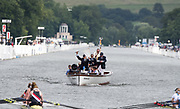 Henley on Thames. United Kingdom. Messing about on the River. Umpire Richard STANHOPE, signals a  completed race..  2016 Henley Royal Regatta, Henley Reach.   <br /> <br /> Sunday  03/07/2016<br /> <br /> © Peter SPURRIER<br /> <br /> NIKON CORPORATION  NIKON D500  f5  1/3200sec  750mm  10.2MB