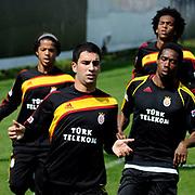 Galatasaray's players Arda TURAN (L) Abdul Kader KEITA (R) Giovani Dos Santos Ramirez (B) Joao Alves De Assis SILVA (B) during their training session at the Jupp Derwall training center, Tuesday, April 20, 2010. Photo by TURKPIX